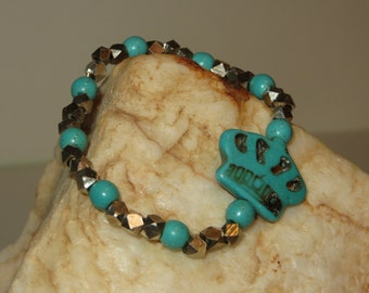 Turquoise-colored Magnesite Stretch Bracelet with Silver-plated Brass Beads