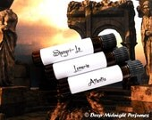MYSTICAL LANDS Perfume Oil Sample Set:  Three mini vials, exotic, florals, earthy