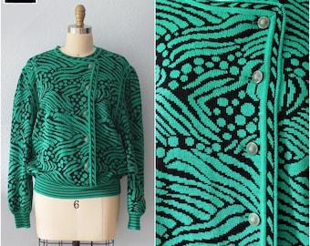 Vtg 80's // Artsy Green // ARTHUR KOHLER // Structured Side-Button Sweater