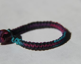 Teal Blue Purple Tie Dye Hemp Bracelet