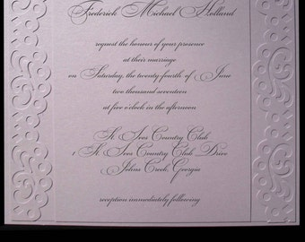 Fifth Avenue Collection Invitation Suite - FA201439 - Lilac Shimmer vintage-inspired scallop borders