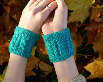 Turquoise Cabled Pulse Warmers - Cuffs - Gift