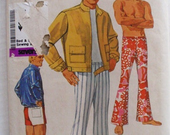 Men's Vintage Sewing Pattern - Unlined Jacket, Bell Bottom Pants or Shorts - Simplicity 8207 -  Size 38, Waist 34