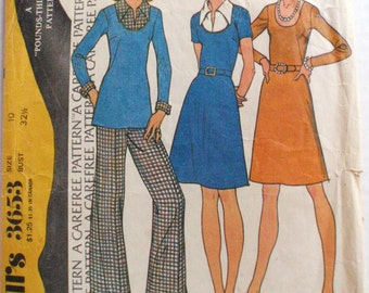 1970's Pounds Thinner A-Line Dress or Top and Pants Sewing Pattern - McCall's 3653 - Size 10, Bust 32 1/2