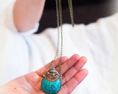 Tibetan Turquoise snuff bottle pendant long bronze necklace Spiritual Bohemian Ethnic Authentic Buddhist Free people style handmade By Inali