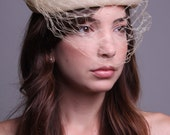 50s Cream Halo Pillbox Hat - Vintage Birdcage Veil Hat - French Netting Hat