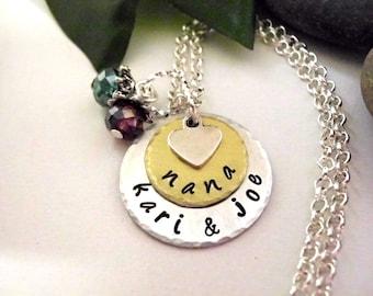 Nana Necklace, Personalized Jewelry, Hand Stamped Jewelry, Nana Jewelry, Jewelry for Nana, Two Tone