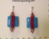 Red Turquoise Drop Earrings --ceramic beads, Swarovski crystals, seed beads