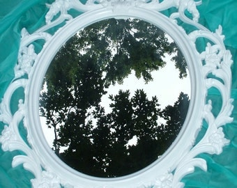 Shabby Chic, Nursery Mirror, White Mirror, Oval Mirror,Large Mirror,Size 33 1/2 x 23 1/2, Choose Color and Finish
