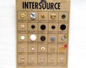 1970s 1980s Salesman Button Sample Card, Vintage Button Factory Sample Card, Vintage Card of Buttons
