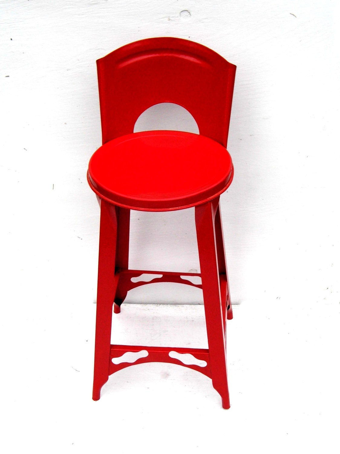 Vintage Red Metal Kitchen Stool Retro Red Kitchen Decor Mid