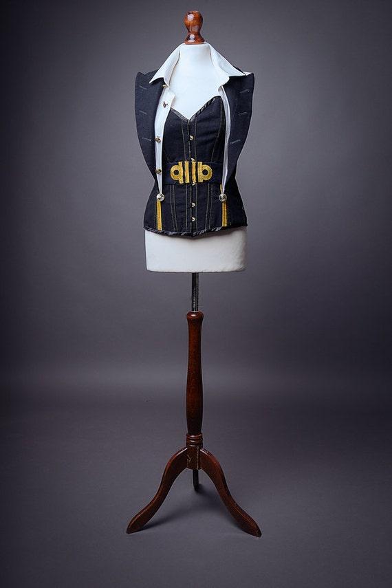 Royal Navy steampunk corset UK size 16. Recycled uniform