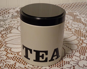 Vintage Tea Canister by Ransburg   -  White and Black Ransburg Canister  -  14-0663