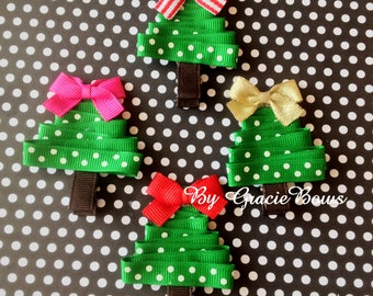 Christmas Tree Hair Clippie- Polka Dots