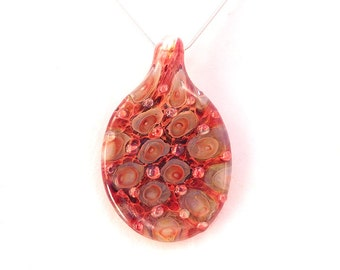 MODBALL Jubilant Glass Red Dot Lampwork Borosilicate Art Pendant On Sterling Silver or Satin Necklace Alternative Jewelry Free Shipping