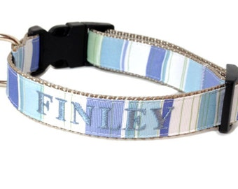 Personalized  Dog Collar- Blue Stripes
