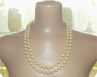 Vintage 40s 50s 2 Double Strand Faceted Faux Ivory Bead Necklace