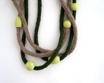 Green brown knitted necklace, chunky necklace, fiber necklace, statement necklace, textile jewelry, infinity neckwarmer, loop scarf, on sale