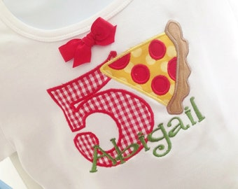 Birthday Slice of Pizza Applique Fabric, Embroidered Shirt or Onesie with Name or Saying and Number