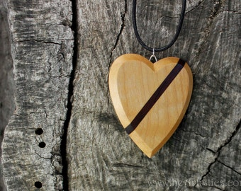 The Heart of Remembrance IV  -  Wear in Loving Memory  -Limited Edition Light Maple and Solid Kingwood  Grieving Wooden Pendant/Necklace