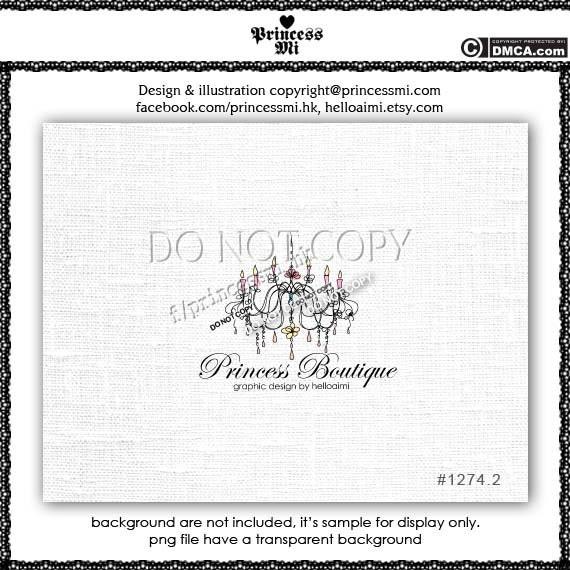 Custom Premade Chandelier Logo Design Vintage boutique logo photography logo watermark by princess mi logo 1274-2