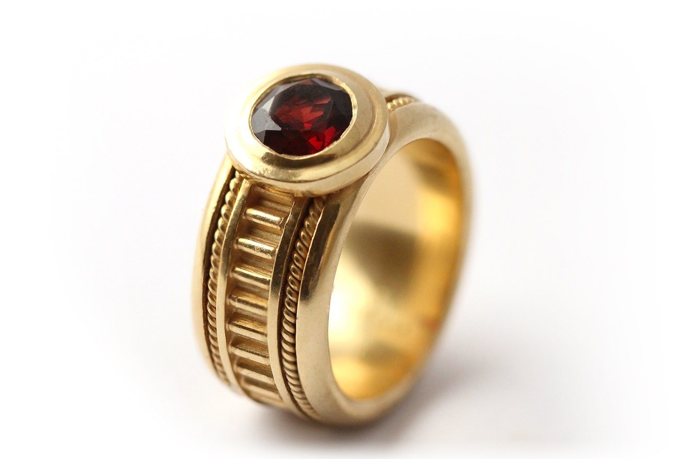 january birthstone promise ring 18k gold ring with garnet
