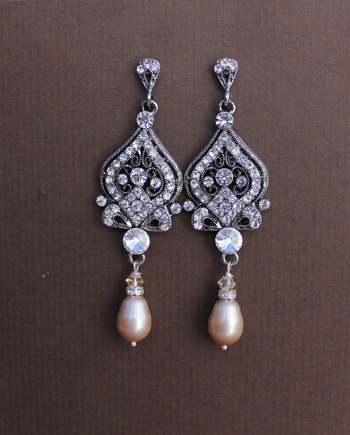Crystal bridal earrings champagne pearl bridal earrings for Jewelry for champagne wedding dress