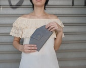Gray leather wallet, Gray leather clutch, leather wallet Women,handmade wallet, wallet leather women, Distressed leather wallet