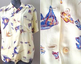Vintage 40s Men's Hawaiian Shirt - McGregor Rayon Aloha Print Shirt Soft Rare 1940s WWII Tropical Fish Angelfish Graphic Yellow Blue Man M