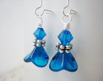 Capri Blue Earrings, Flower Earrings, Blue Flower Earrings, Czech Glass Earrings, Glass Flower Earrings, Blue Drop Earrings, Gift for Her