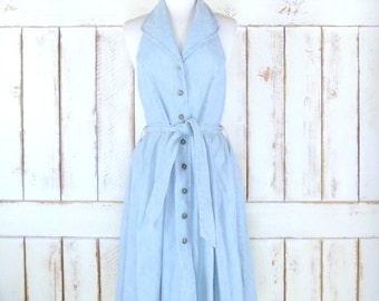 Vintage light blue jean denim halter top midi dress/Tommy Hilfiger/button down full skirt dress/belted dress
