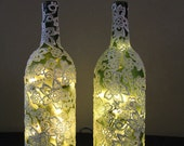 Wine Bottle Lamp set, Appliqued, Frosted Wine bottles 63BNX