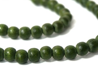 Wood Beads, 6mm forest green, round eco-friendly wooden beads (844R)