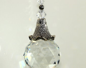 m/w All Swarovski® crystal 30mm Ball & Large Antiqued Ruffled Cone Bead Cap Sun Catcher Car Charm Home Ornament, Pearl Place N More