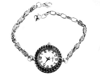 Get 15% OFF - Handmade Polka Dot Antique Silver Quartz Bracelet Watch - Valentine's Day SALE 2016