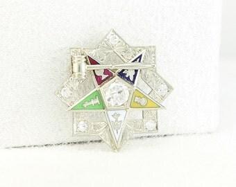 OES Past Worthy Matron Brooch Pin 14K Gold & Diamond  - Masonic Eastern Star