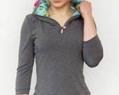 hoodie - grey - flowers - button