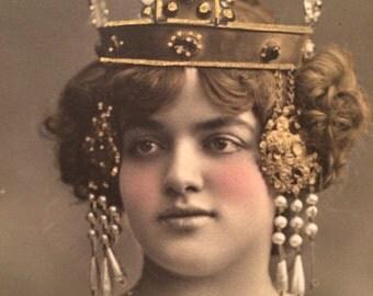 French Photo  Postcard - Belle Époque  - Folies Bergere - Walery - Beautiful Woman - Antique Photo