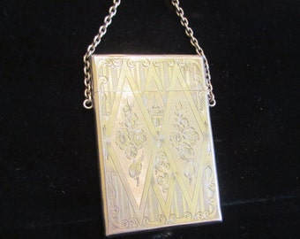 Victorian Silver Card Case Business Card Case Dance Card Holder Wristlet Purse Circa 1880's German RARE