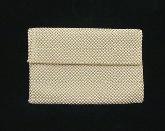 Whiting & Davis Clutch Purse Vintage Purse Cream White Mesh Envelope Style Purse EXCELLENT CONDITION