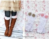 Valentine's Day Gift, Mom or Baby Girl Ruffle Leg Warmers w Chiffon Roses. Women's, Girl's Boot Socks, Boot Cuffs, Mommy and Me, Matching