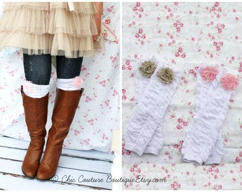 Easter Spring Gift Rose Ruffle Leg Warmers, Boot Cuffs, Boot Socks w Chiffon Roses. Bridesmaids Gift, Women's & Girl's Leggings Mother's Day