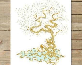 Nimbus | 11 x 17 in. Art Prints | tree clouds illustration