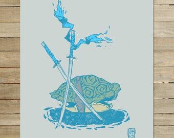 Leo TMNT - Teenage Mutant Ninja Turtles |  9 x 12 in. archival art print  | leonardo fan art japanese anime ink