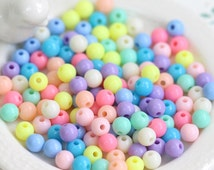 300PCS 6MM Colorful pastel round solid plastic loose beads spring summer Assorted (11-19-545)