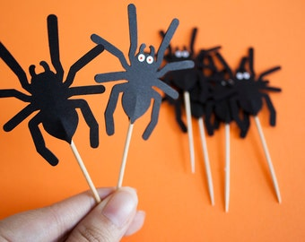 12 Spider Halloween Party Picks - Cupcake Toppers Baby Shower - Food Picks