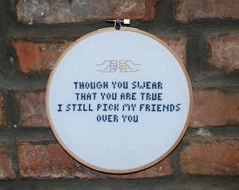 "New Found Glory Cross Stitch Lyrics-  ""My friends over you"" From Sticks and Stones"