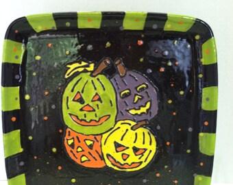 sale! Halloween Jack O Lantern Ceramic Platter - SALE - Hand Painted - In Stock