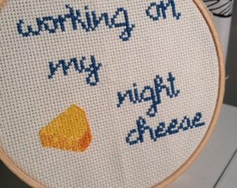 "30 Rock - Liz Lemon Inspired ""Night Cheese"" Cross Stitch"