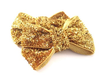 Gold Glitter Dog Bow -  ONE Gold Glitter Puppy Bow - Yorkie, Maltese, Long Haired Dogs